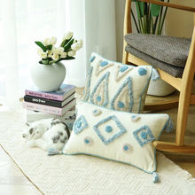 Monad Home Decorative Handmade Tufted Cotton Linen Moroccan Embroidery Cushion Covers with Tassel
