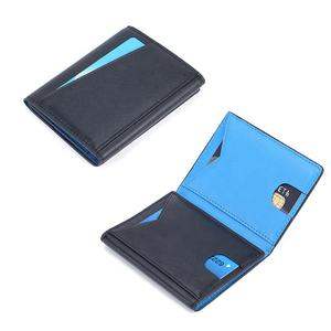 RFID Trifold slim genuine leather thin minimalist Wholesale front side leather mens billfold wallet