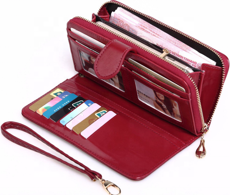 New arrival PU leather multifunctional ladies wallets fashion card cash purses and handbags with zipper wrist wallet for women