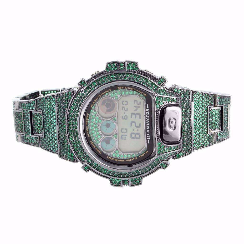 Wholesale high quality hip hop icedout bling GA100 custom g fashion shock watch set(Bezel+band+face+plated)