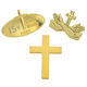 Metal Christian Alloy Religious Cross Chaplain Badge Pin Jesus Gold Plated Dress UP Lapel Pins
