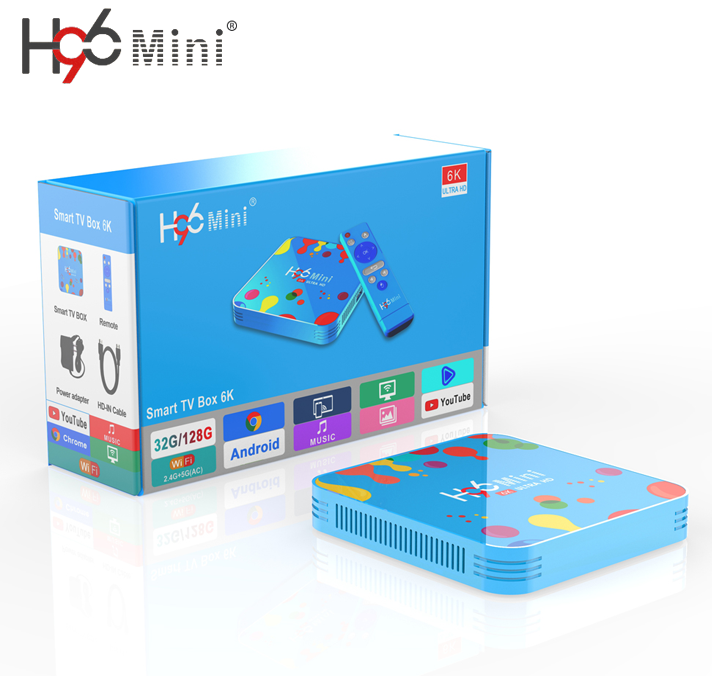 Fabriek Nieuwste Smart Media Player H96 MINI H6 6K IPTV Box Google Play Store Media Center Android 9.0 TV doos