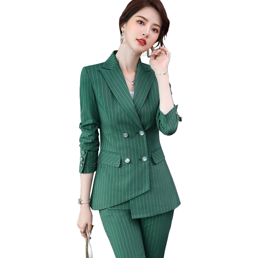 2020 New Arrival Green Red Purple Stripe 2 Piece Set Blazer Tuxedo Women Female Asymmetric Plus Size 5XL Jacket And Pant Suit