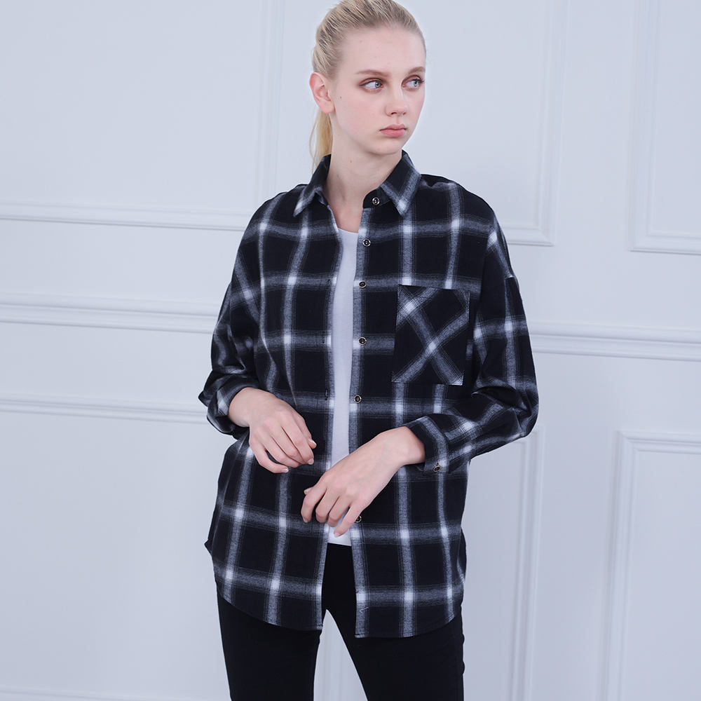 New Design Ladies Clothes Plaid Shirts Blouse Women'S Fashion Long Sleeve Cotton Shirt