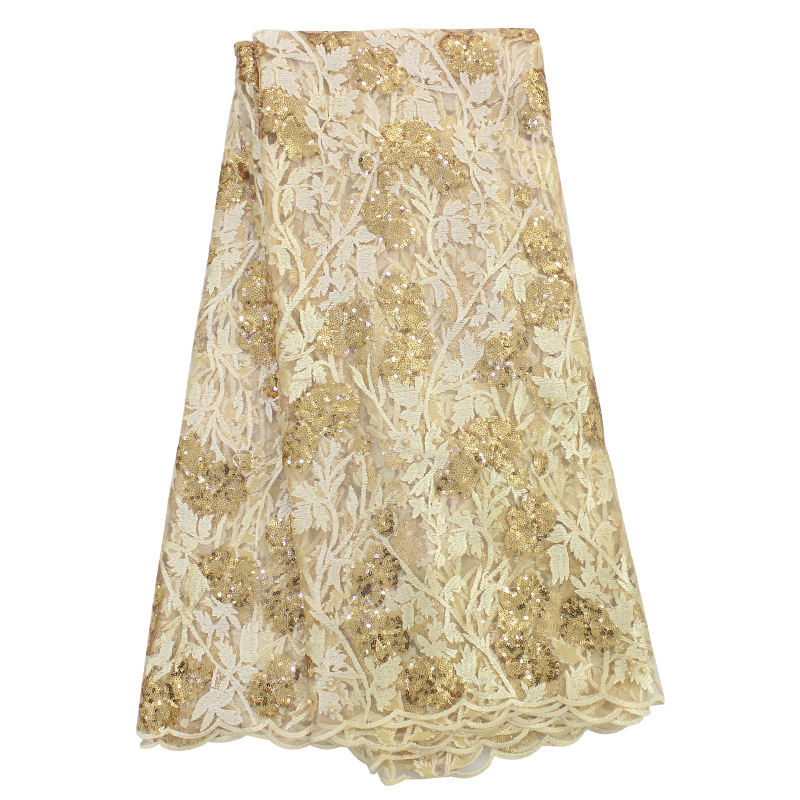 Bestway polyester sequin embroidered silk gold sequins tulle lace lace fabric