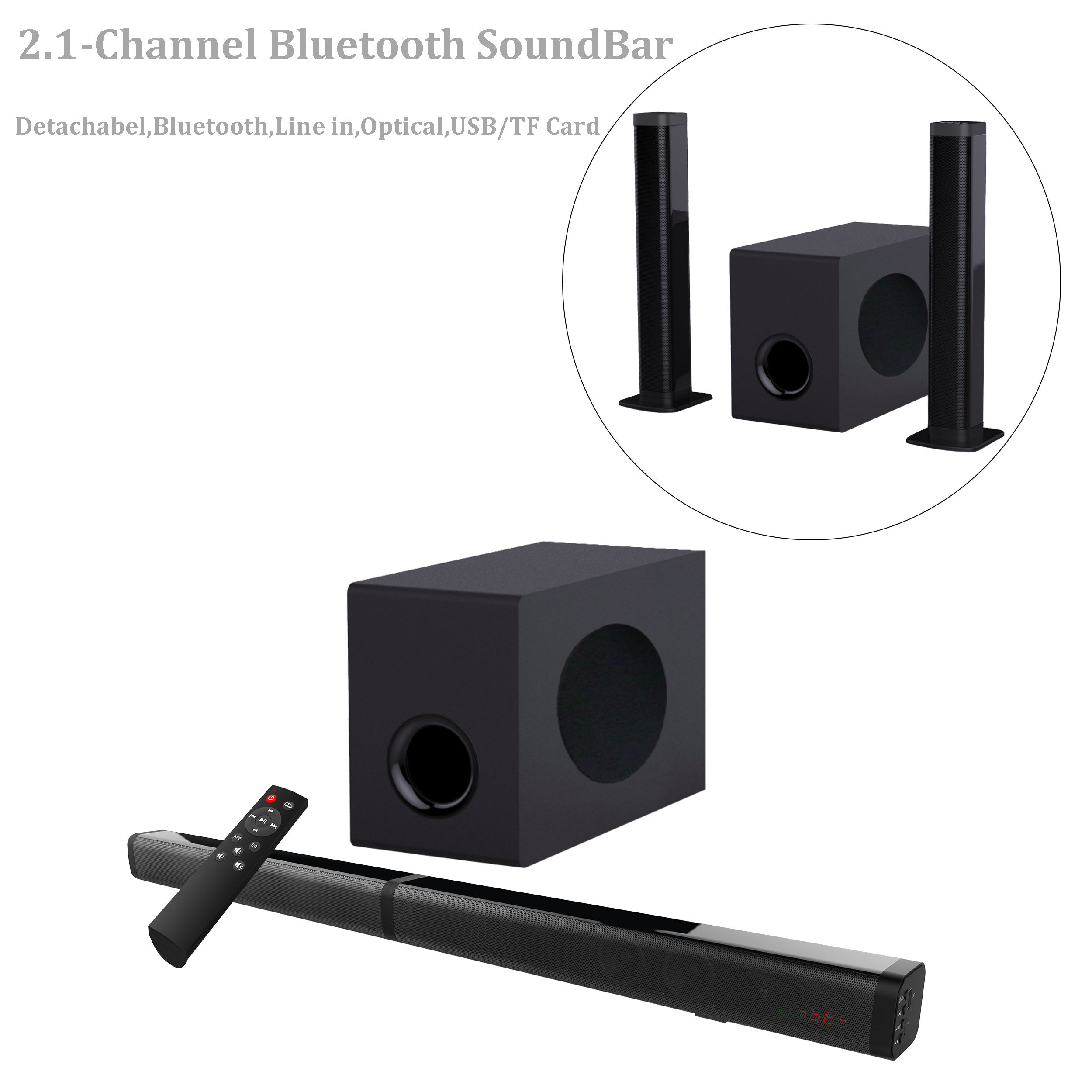 2020 amazon hot sale 2.1ch soundbar with subwoofer wireless tv sound bar with woofer