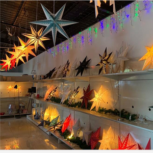 Christmas Star Tree Topper Ornament Home LED Paper Star Decoration Lamp