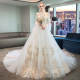 One-shoulder master wedding dress 2020 new bride French style was thin and long tailing dream luxury starry female super fairy