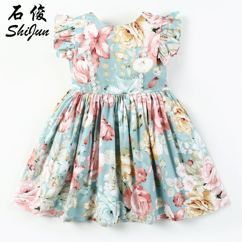 Shijun Baby Floral Dress Children Print Cotton Girls' Dress Children's wear