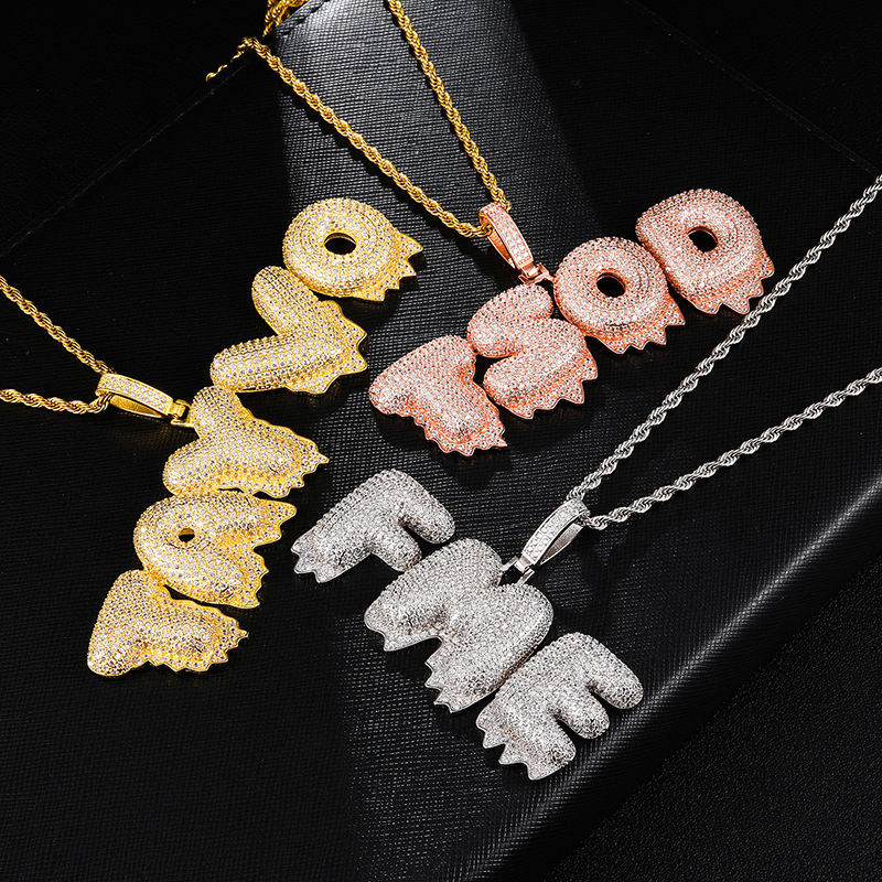 Hip Hop Iced Out Bubble Letters Custom Name Cubic Zircon Drip Chain Pendants & Necklaces For Men Jewelry With Tennis Chain
