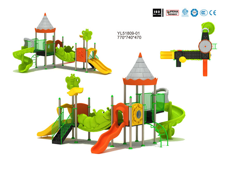Outdoor [ Playground Equipment ] Playground Kids Equipment Kids Carton Theme Small Outdoor Plastic Slide Playground Backyard Playground Slides Equipment
