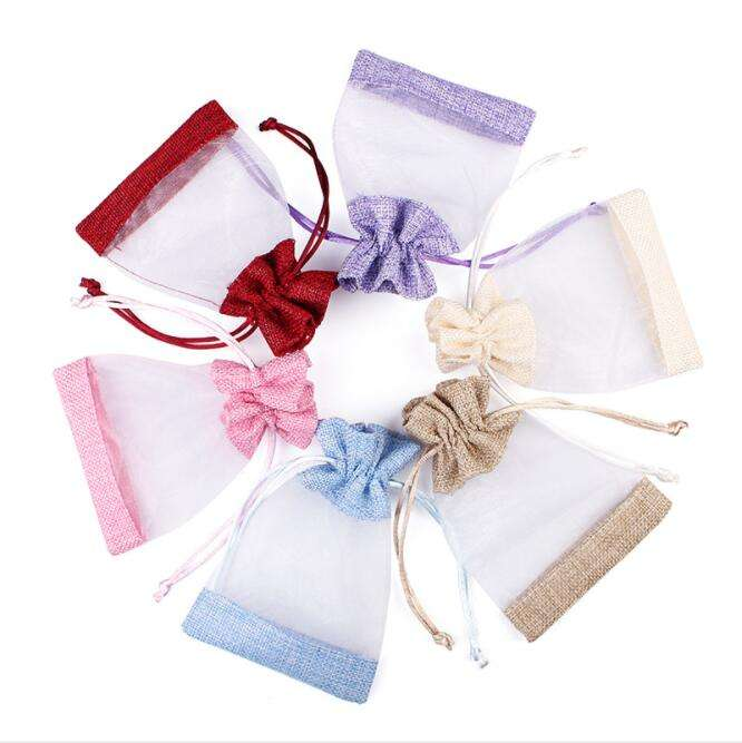 Wholesale Custom Organza Jewelry Pouch Bag Wedding Gift Pouches With Drawstring Burlap Gift Bag Organza Bag