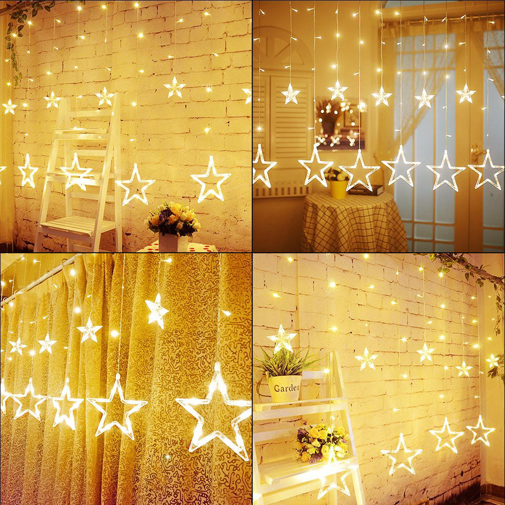 Bolylight Hot Sale 12 stars 138 Lights Window Curtain Led String Lights Fairy Light For Christmas