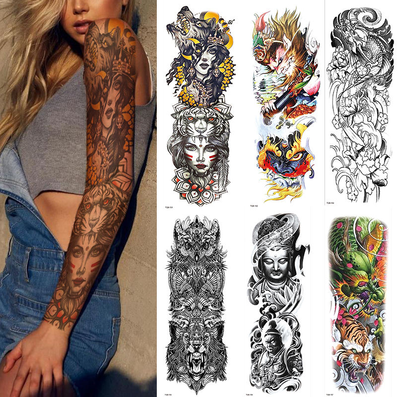 Wholesale Large Arm Sleeve Tattoo Waterproof Temporary Tattoo Sticker Lion Crown King RoseWild Wolf Tiger Men Full Skull