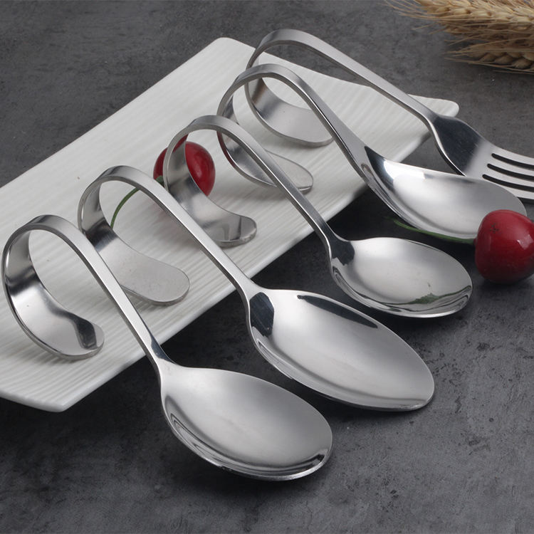 Creation thick 18-8 stainless steel flatware cutlery set bent curve handle spoon fork mirror polished serving dinner silverware