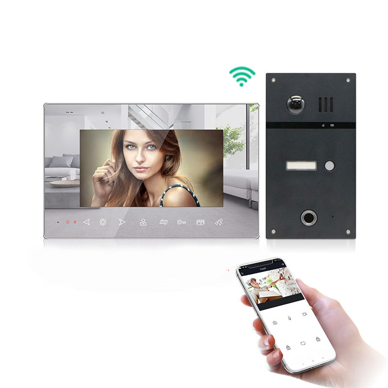 Wifi video doorbell camera mirror effect tuya app intercom with fingerprint unlock function