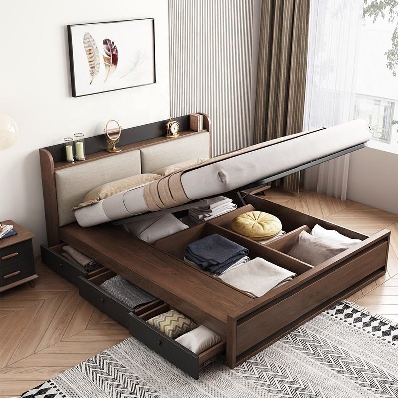 Modern Bedroom Furniture Storage Double Bed with USB Interface and Drawers Fabric Headboard Wooden Beds
