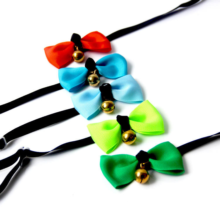 colorful christmas pet bow tie with bell wholesale in stock pet accessories