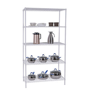 Kitchen Chrome Wire Shelving 5 Layers Chrome Plated Metal Rack Shelf Grocery Storage