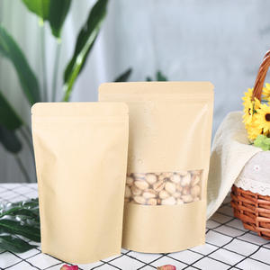 Seeds Paper Packing Brown Paper Kraft Bags Food waterproof zip lock Bags with Window