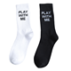 Male letters black and white color thin custom logo men cotton crew socks