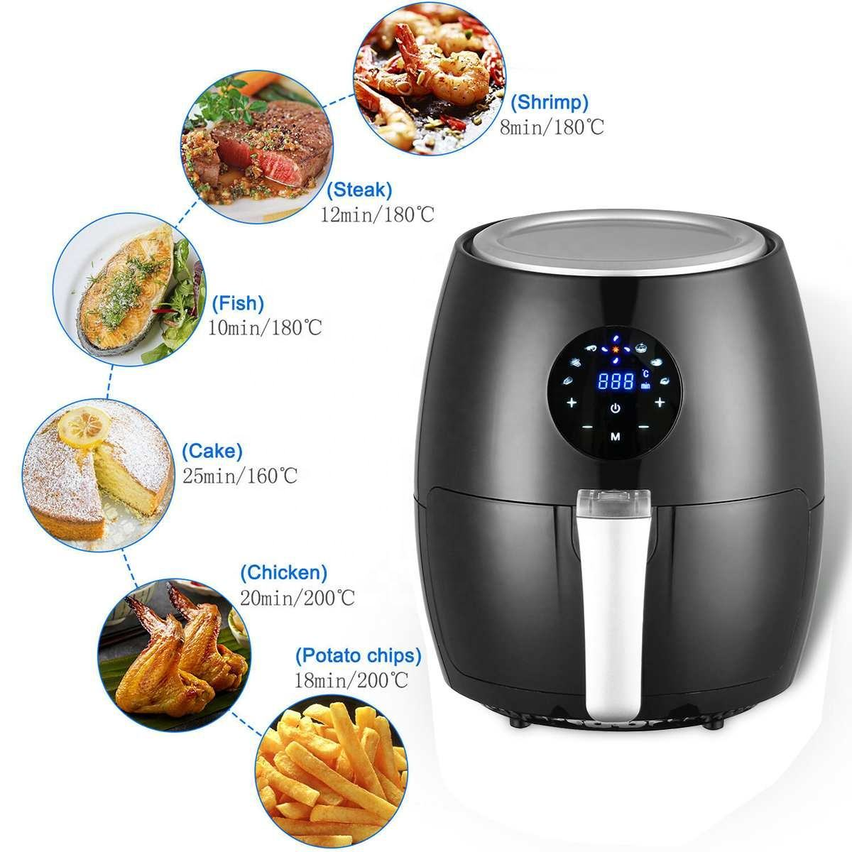 1350W 3.8L Electric Deep Fryer Air Fryer Digital LED Touch Screen Timer Temperature Control Power Oil Free Air Fryer Electric