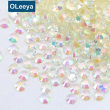 Wholesale Full Size Transparent Clear AB Flatback Non Hotfix Crystals Nail Art Resin Non Hot Fix Rhinestones for Nail Art Crafts
