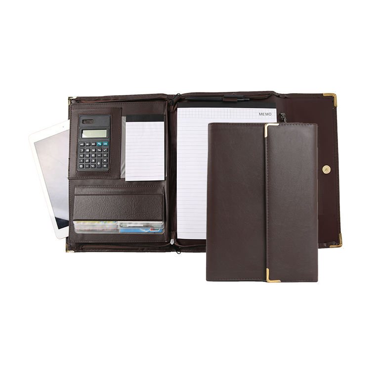 High quality organizer genuine leather crazy horse padfolio portfolio