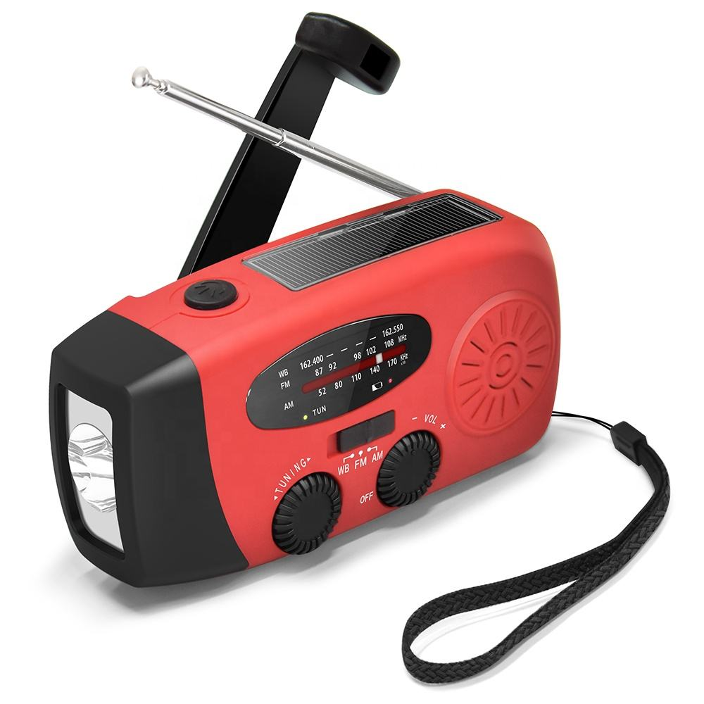 Emergency Portable mini Weather Noaa Hand Crank Solar Battery Bank Radio with Flashlight