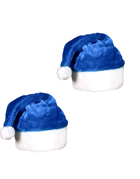 High quality blue Velvet Christmas ornament that men and women can wear with a hat and fur ball