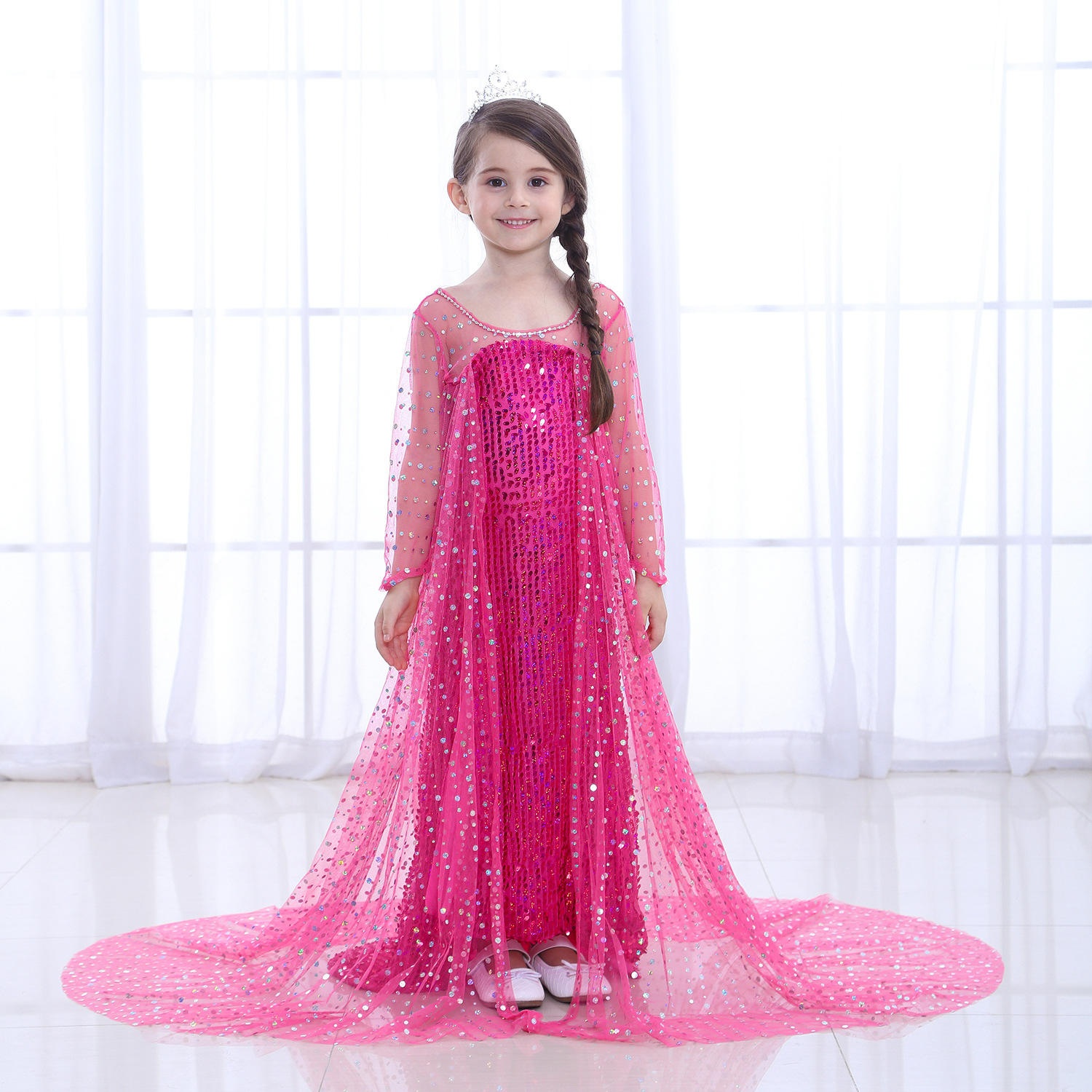 Girls Princess Costume Birthday Party Halloween Cosplay Dressアップエルザ<span class=keywords><strong>冷凍ドレス</strong></span>