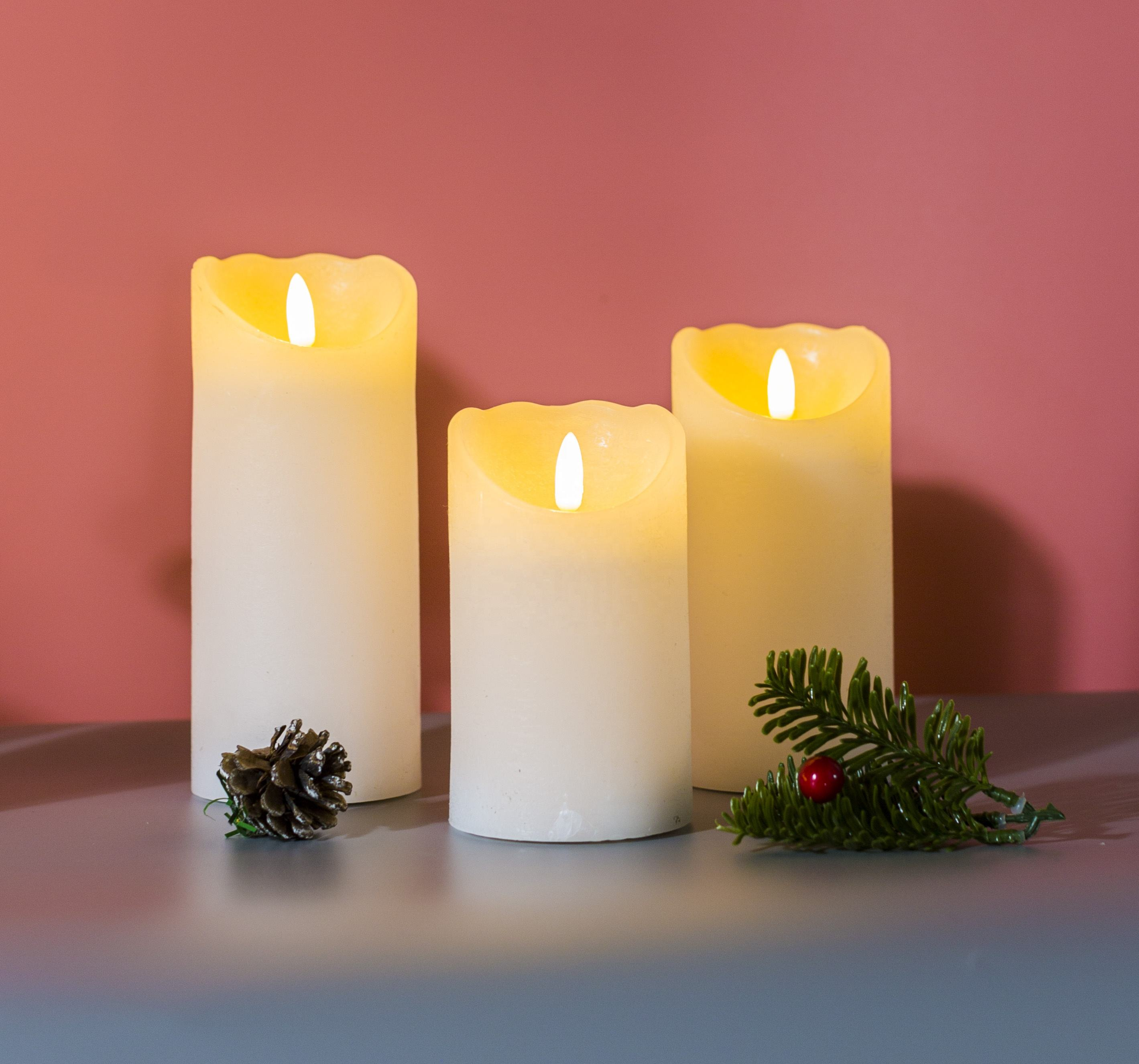 Newish 3pcs/set 3d battery operated real wax moving wick flickering flameless led candles electric candle home decoration