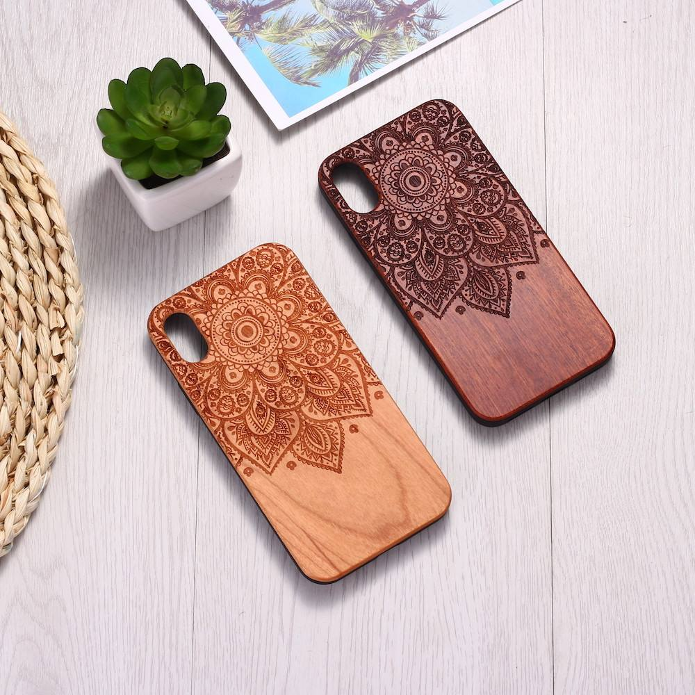 Vintage Henna Mandala Floral Engraved Wood Phone Case Coque Funda For iPhone 6 6S 6Plus 7 7Plus 8 8Plus XR X XS Max 11 Pro Max