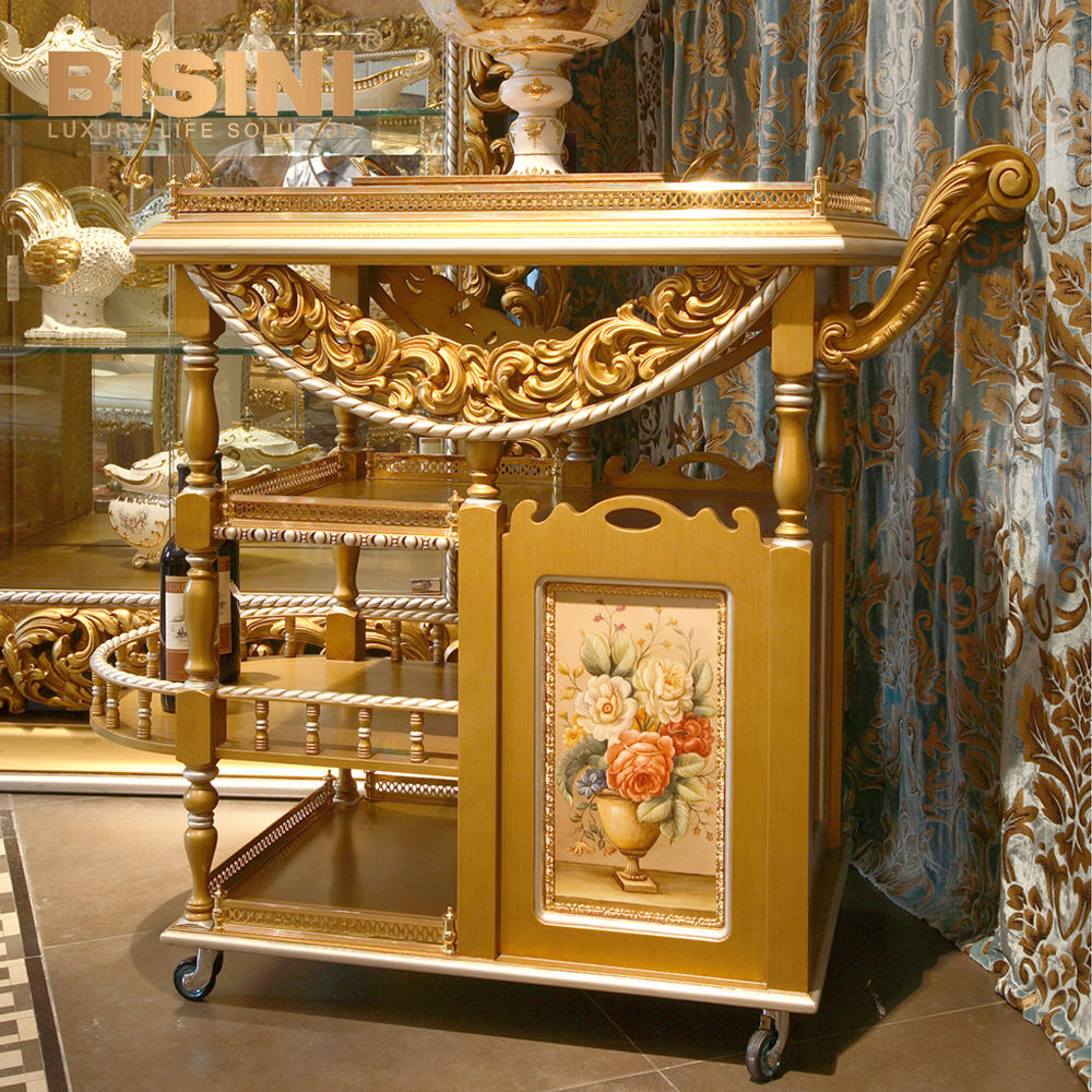 Luxury French Rococo Style Golden Decor Floral Carving Food Service Trolly/ Home Dining Room Wooden Wine Trolley, Liquor Trolley