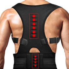 Black Neoprene Shoulder Brace Adjustable 10 magnetic back support belt Therapy Spine Posture Corrector Seat Man With Magnets