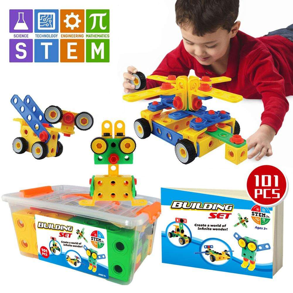Stem toys kit educational building blocks 101pcs ,abs plastic type building block hot sell in amazon