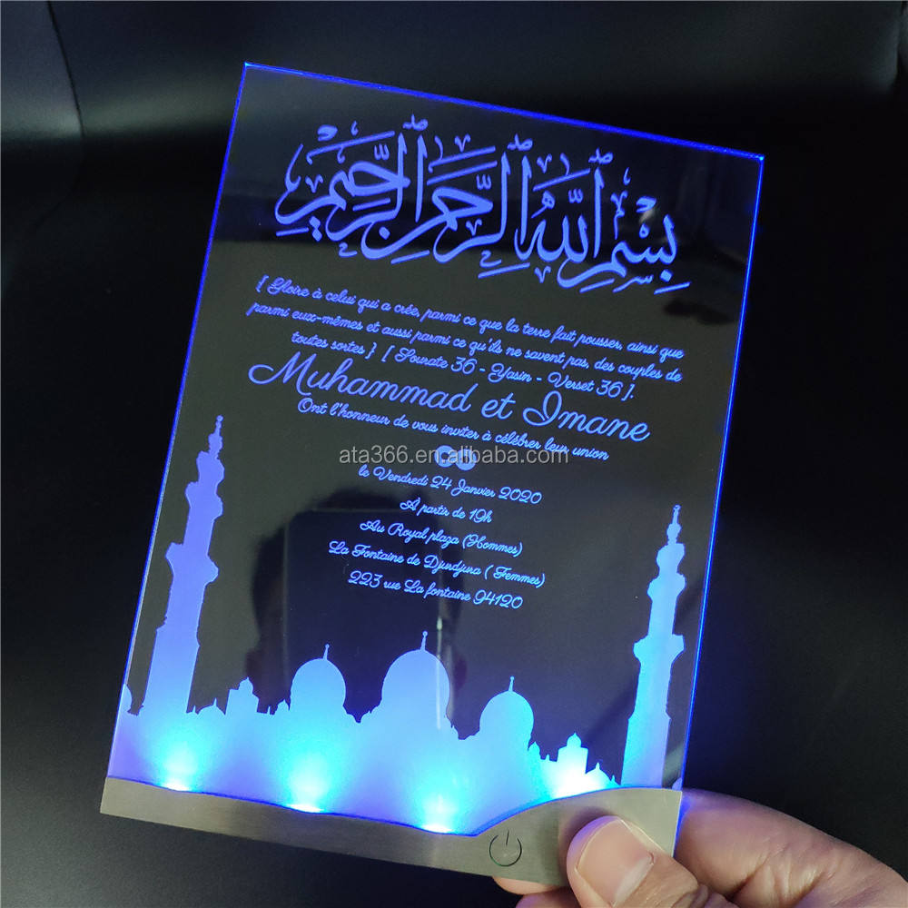 New LED Wedding Invitation Card Custom Design Clear Acrylic LED Wedding Card Unique Wedding Invitations Card