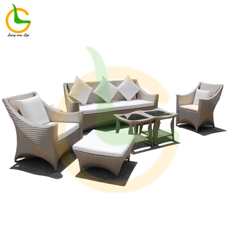 Waterproof hotel project customized high quality 5 pieces rattan sofa outdoor patio furniture sets