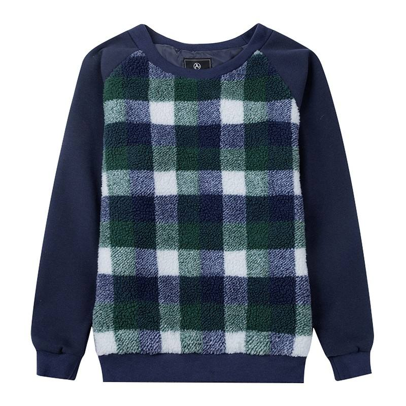 Kunden plaid fleece sweatshirt mens crew neck sherpa fleece sweatshirt