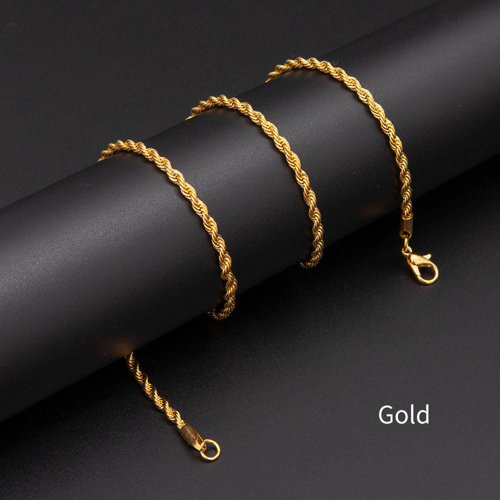 Pengkai Chain Necklace Twist Chain Fashion Iron 24K Gold Color Jewelry Necklace Hiphop 3mm Rope Necklace Chain Men women girl