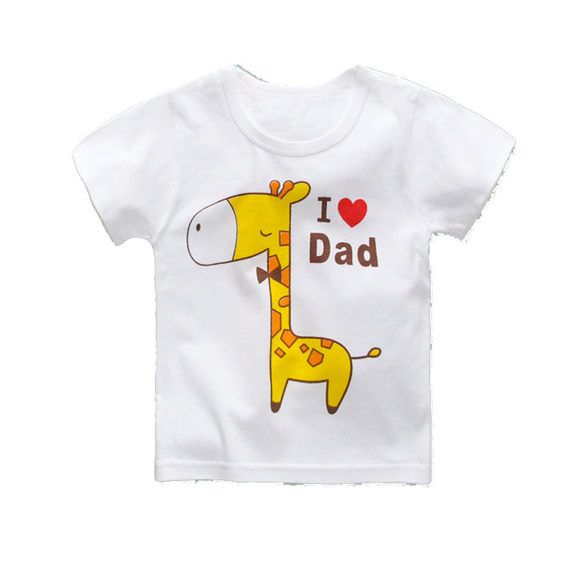 Fashion Cute Animal 100% Cotton Single T-shirt Children's T-shirt Good Quality and White Short-sleeved