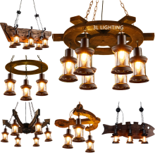 wooden Indoor retro Hanging Rustic Metal loft Vintage LED lamp Chandelier Pendant lighting