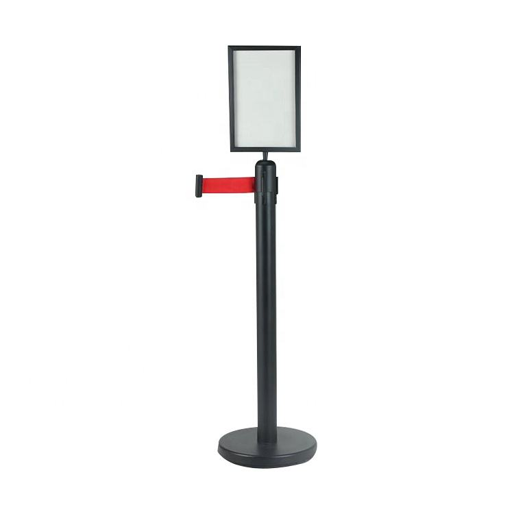 Control barriers Steel market retractable belt barrier crowd queue controls with A3/A4 sign holder Other Hotel