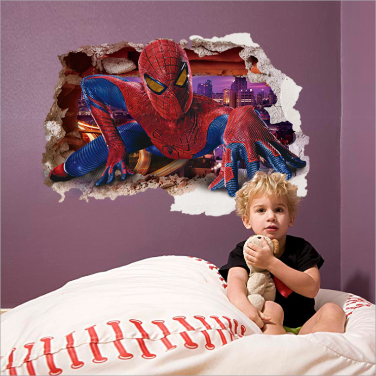 AY9269 3D Effect Boys Room Decor Superheld Spider Man <span class=keywords><strong>Stickers</strong></span> Marvel