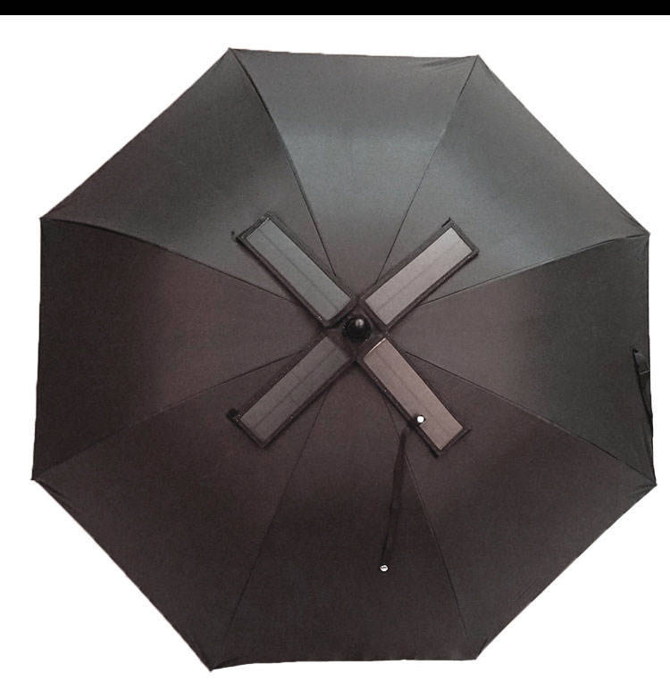Customized solar automatic charging electricity anti-thunder fiberglass portable windproof alloy fan umbrella