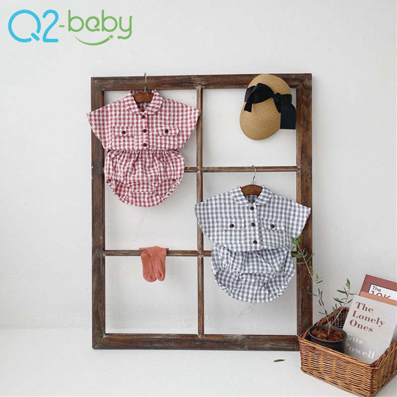 Boutique toddler boutique baby photo clothes personality plaid shirt baby clothing set 3635