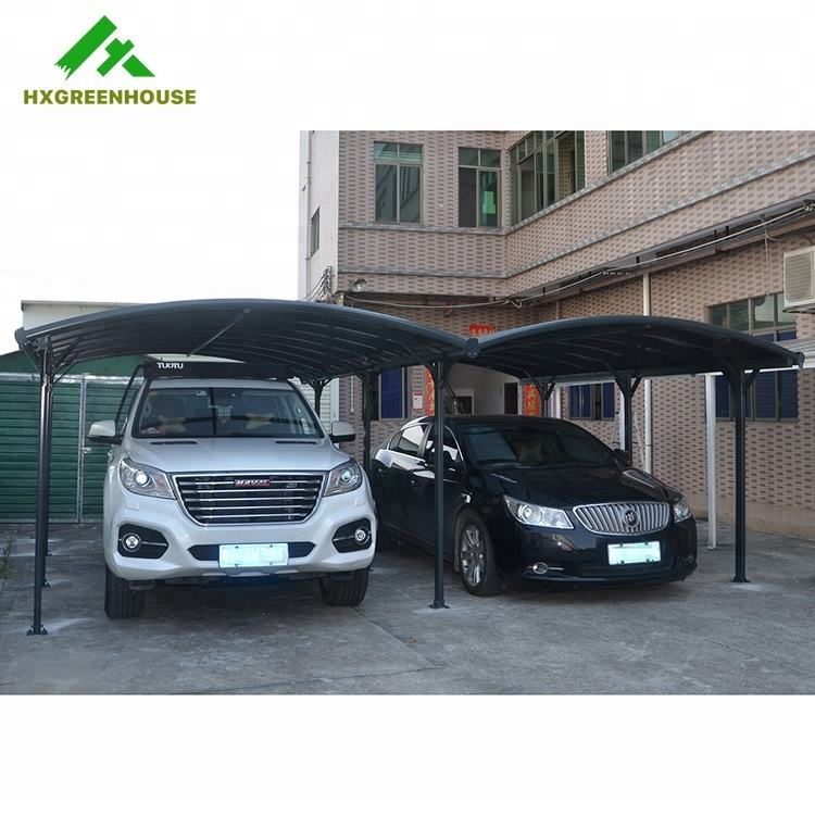 Outdoor waterproof arched roof modern designs aluminium double metal carport frame parts garages canopies carports car port