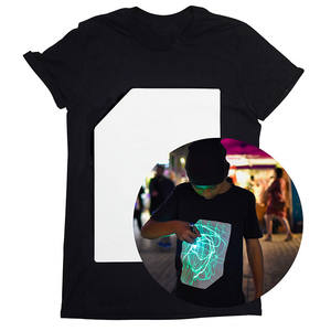 Lasheen Christmas Light Up Clothing T-Shirt Black LED Flashing Glow in The Dark Tee Party Festival Short Sleeve LED T Shirt