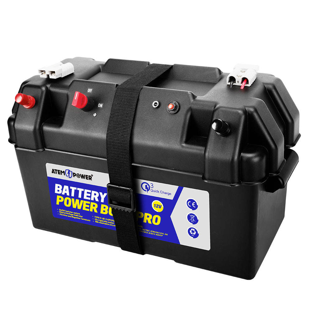 Portable Deep Cycle AGM Batteries Quick Charge USB ATEM POWER 12V Battery Box