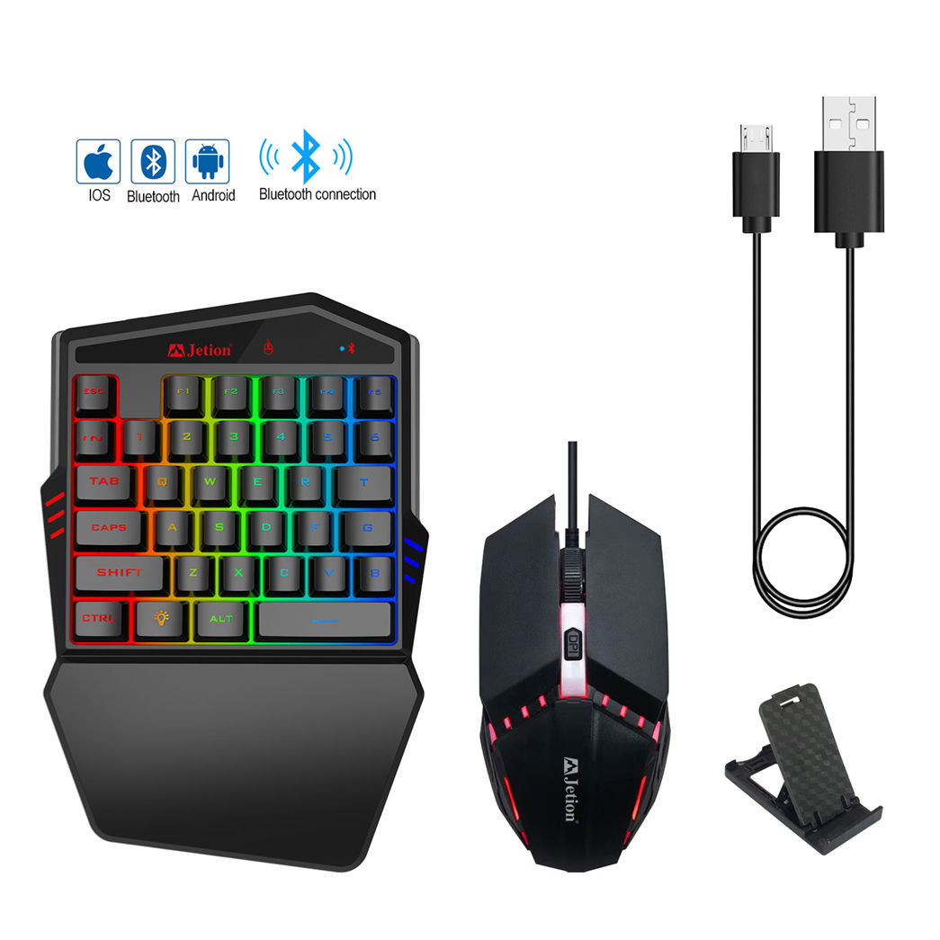 Single Hand Gaming Keyboard mouse RGB Backlight Mini Wired 35 keys keyboard mouse combo kit For Mobile Smartphone